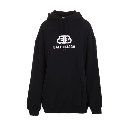 BB Logo Print Black Hoodie