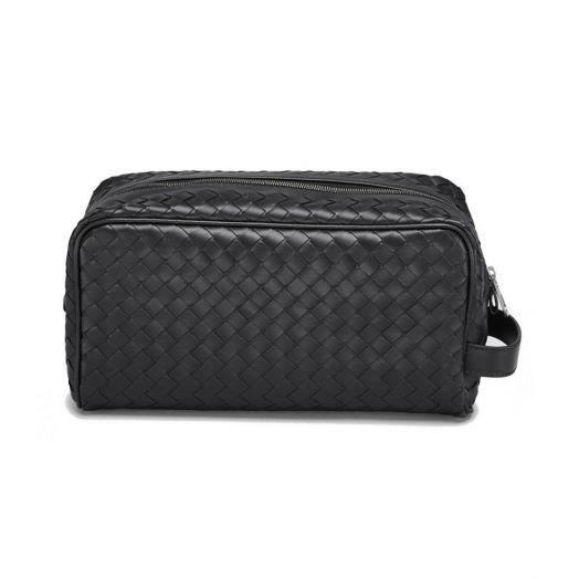 Intrecciato Leather Travel Wash Bag