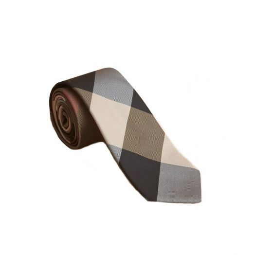Modern Cut Check Beige Silk Tie