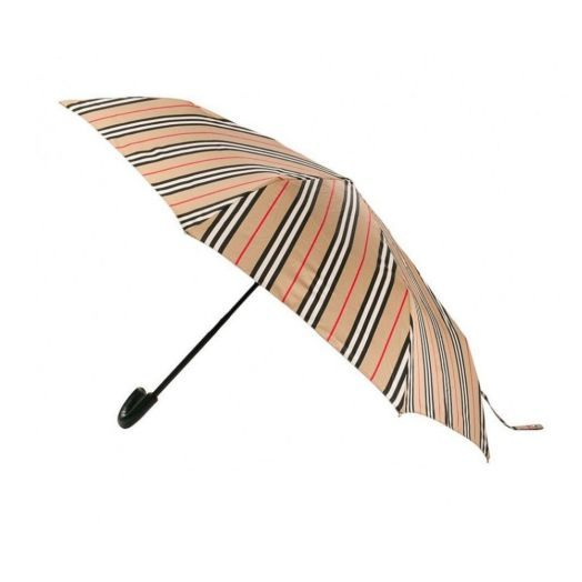 Icon Stripe Beige Folding Umbrella