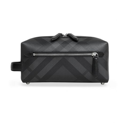 London Check and Leather Wash Bag