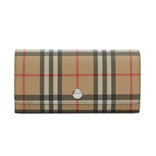 Vintage Check E-canvas Malt Brown Continental Wallet