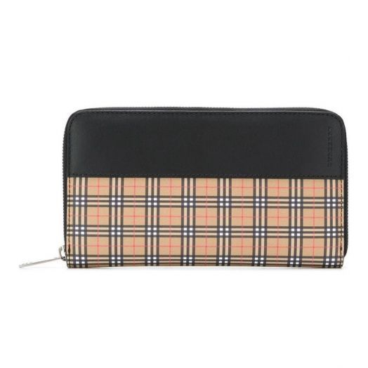 Vintage Scale Check Ziparound Wallet Yellow & Black