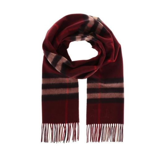 THE GIANT Claret RED CHECK CASHMERE SCARF