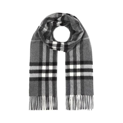 The Giant Check Mid Grey Cashmere Scarf