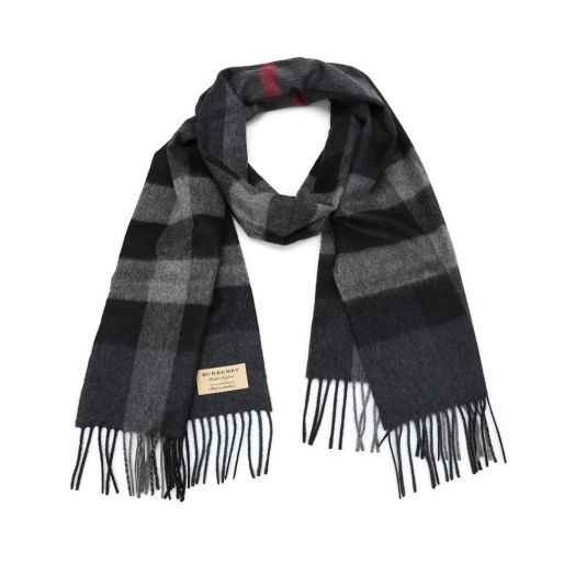 The Large Classic Charcoal Check Cashmere Scarf