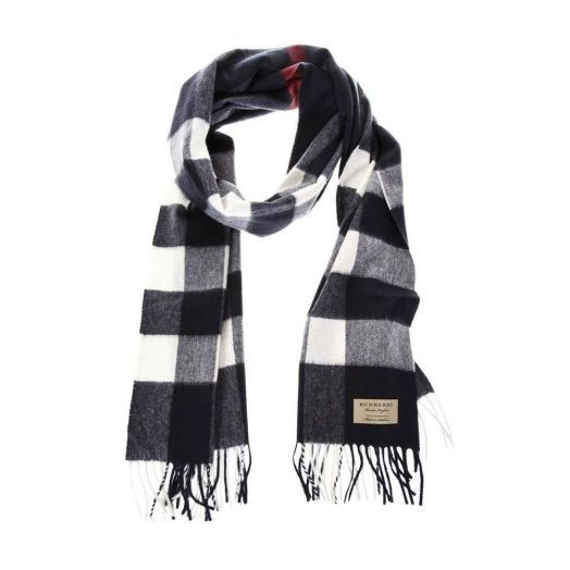 The Large Classic Navy Check Cashmere Scarf