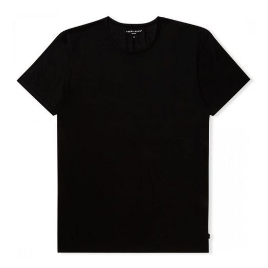 Lewis Double MERCERISED COTTON Black Crew NECK T-SHIRT