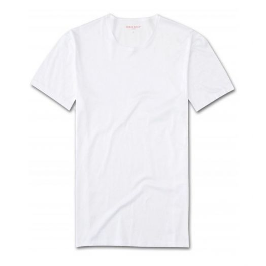 LEWIS DOUBLE MERCERISED COTTON White CREW NECK T-SHIRT