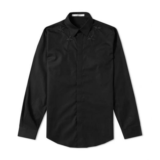 PARIS Black STAR-EMBROIDERED SHIRT