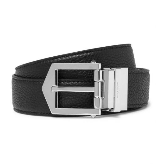 Obsedia Black & Tan Brown Reversible Pebble-grain Leather Belt