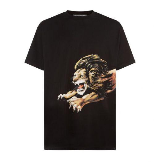 Black Leo Oversized Lion Print T-Shirt