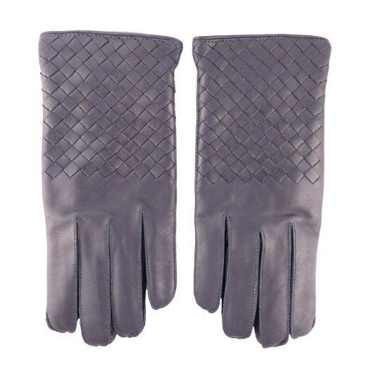 Navy Intrecciato Gloves