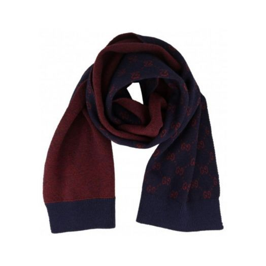 All over GG Alpaca Wool Navy Red Knit Scarf