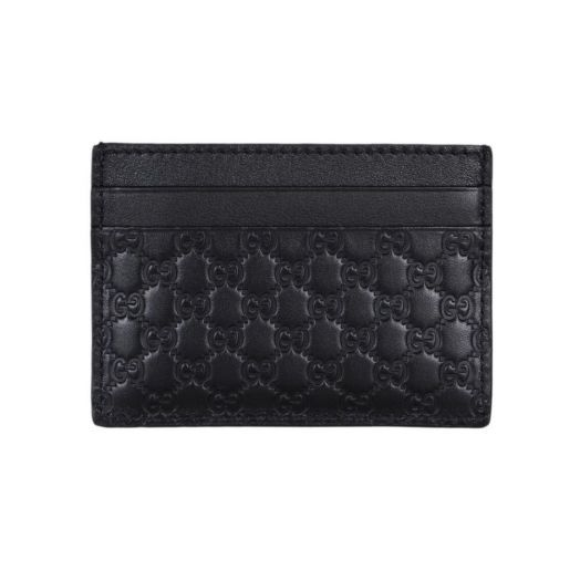 MICRO GG Black LEATHER CARD HOLDER WALLET