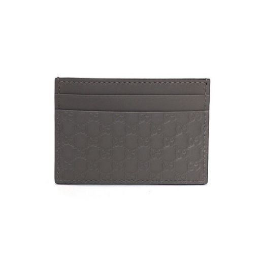 Micro GG Brown Leather Card Holder Wallet