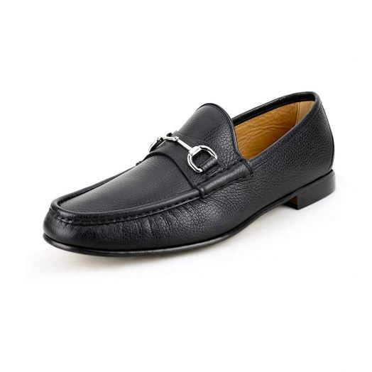 Classic Pebbled Leather Horsebit Black Loafers