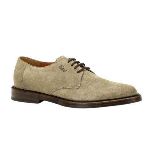 Beige/Brown Suede Leather Lace-up Shoes