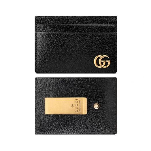Black Leather Card Holder & Money Clip Wallet