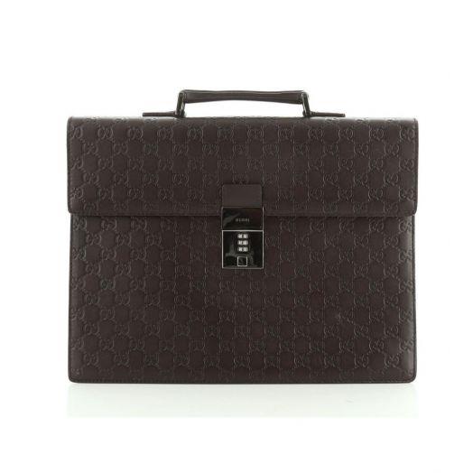 Guccissima Combination Lock Brown Leather Briefcase