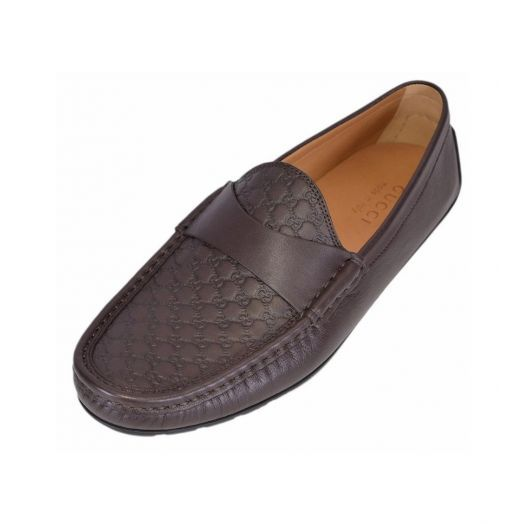 MICROGUCCISSIMA CALFSKIN Chocolate Brown DRIVER LOAFERS