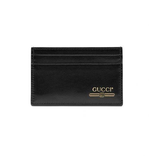 Black Leather Gold Logo Card Holder Wallet