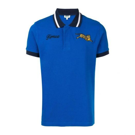 Blue Fitted 'Jumping Tiger' polo