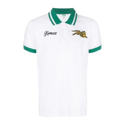 White FITTED 'JUMPING TIGER' POLO
