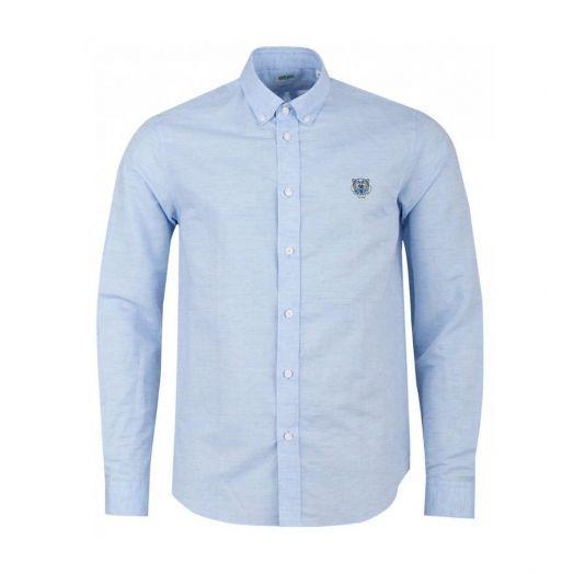Sky Blue Tiger Crest Poplin Shirt