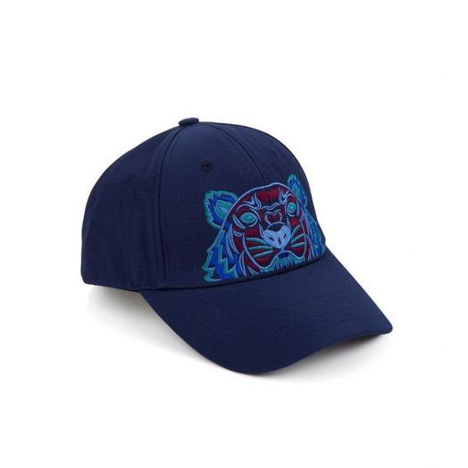 Navy Blue & Burgundy Tiger Canvas Cap