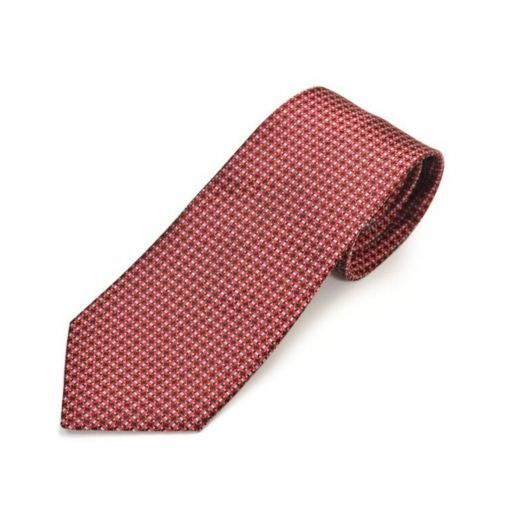 Jacquard Geometric Pattern Red Tie