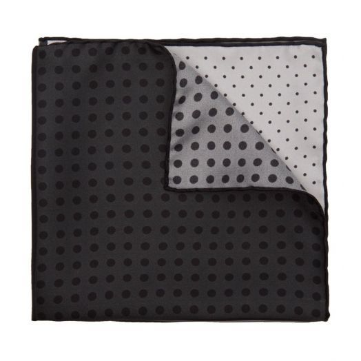 Grey Polka Dot Silk Twill Pocket Square