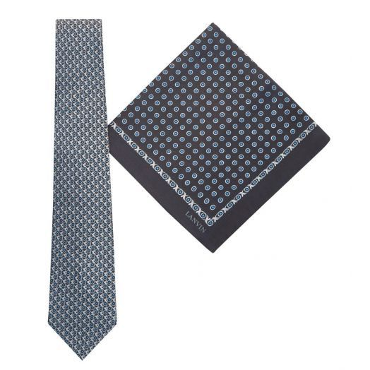 Tie & Pocket Square Geometric Circles Dot Pattern Black Gift Set