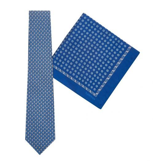 Tie & Pocket Square Geometric Circles Dot Pattern Blue/Grey Gift Set