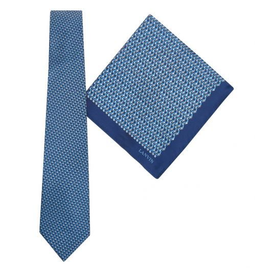Tie & Pocket Square Geometric Squares Pattern Blue/Grey Gift Set