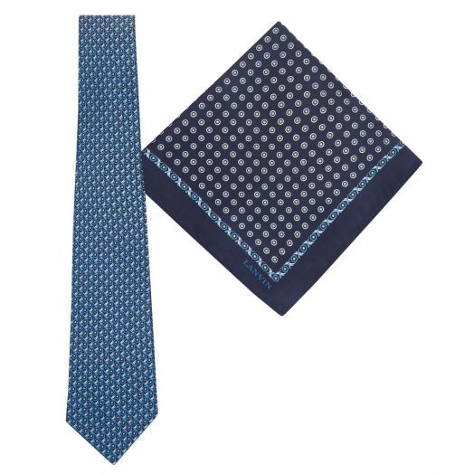 Tie & Pocket Square Geometric Circles Dot Pattern Navy Gift Set