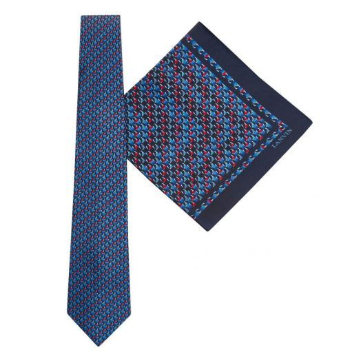 Tie & Pocket Square Geometric Pattern Tie Gift Set