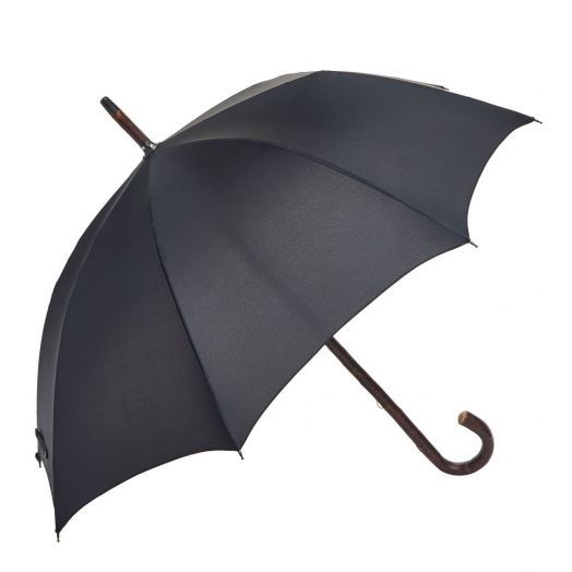 Cherry Wood One-Piece Umbrella with Classic Black Canopy