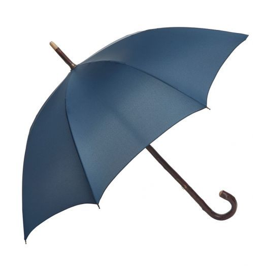 Cherry Wood One-Piece Umbrella with Classic Navy Canopy