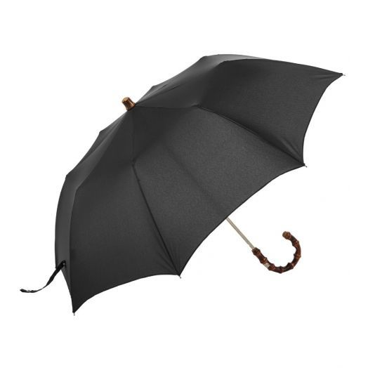 Bamboo Folding Travel Black Umbrella
