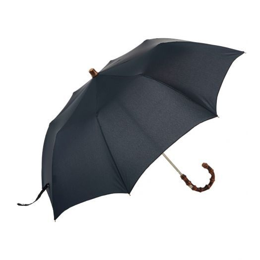Bamboo Folding Travel Navy Umbrella