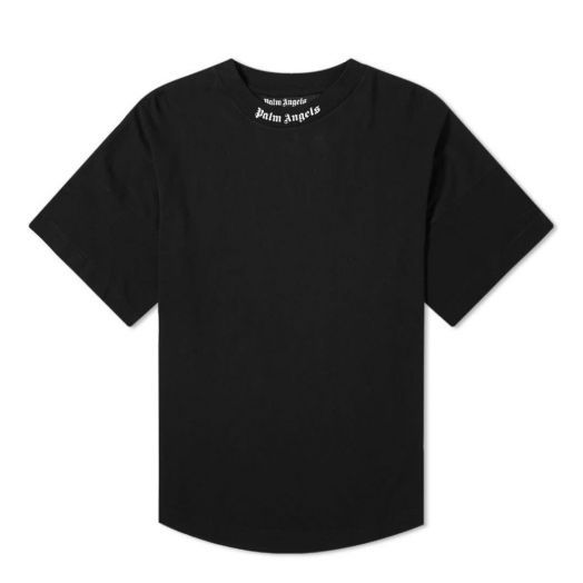 Logo Collar Back Crew Neck Black Oversize T-shirt