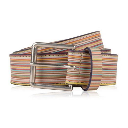 Multi-coloured Embossed Signature Stripe Leather Belt