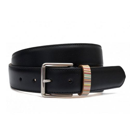 Black SIGNATURE STRIPE KEEPER LEATHER belt