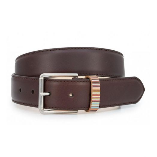 Dark Brown Signature Stripe Keeper Leather Belt