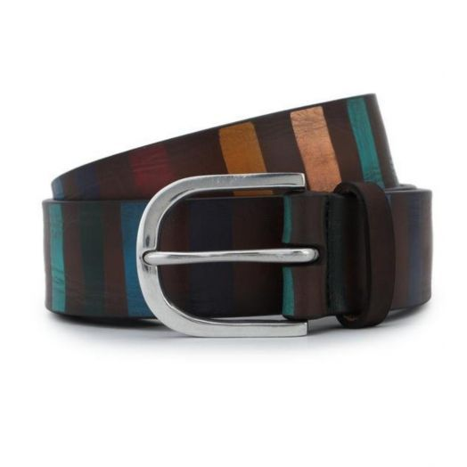 Brown Stripe Hand-painted Leather Belt