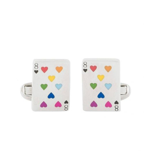 Multi-Coloured Heart Playing Card Cufflinks