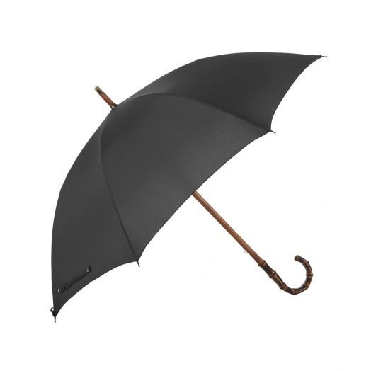 Bamboo One-Piece Umbrella with Classic Black Canopy