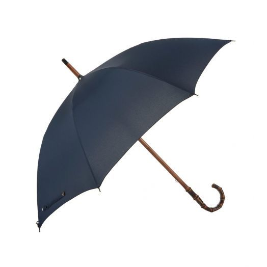 Bamboo One-Piece Umbrella with Solid Navy Canopy