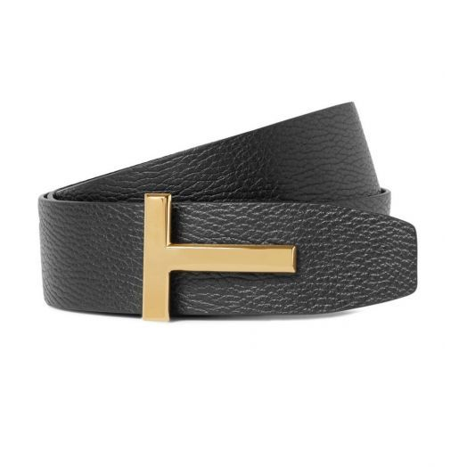 T Buckle Logo Reversible Black Brown Belt